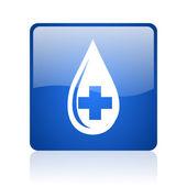 крови голубой квадратный веб глянцевой значок — Стоковое фото