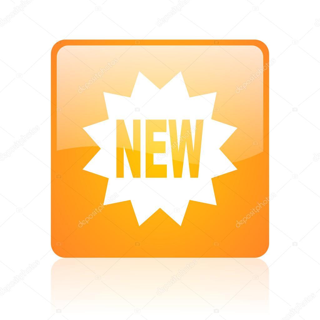 New orange square web glossy icon — Stock Photo ...