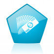 Money blue pentagon web glossy icon — Stock Photo