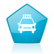 Taxi blue pentagon web glossy icon — Stock Photo #24229457