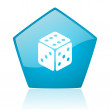 Dice blue pentagon web glossy icon — Foto Stock #24229587