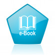 E-book blue pentagon web glossy icon — Stock Photo