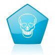 Royalty-Free Stock Photo: Skull blue pentagon web glossy icon