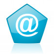 At blue pentagon web glossy icon — Stock Photo