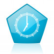 Clock blue pentagon web glossy icon — Stock Photo