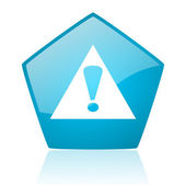 Warning blue pentagon web glossy icon — Stock Photo