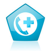 Emergency call blue pentagon web glossy icon — Stock Photo