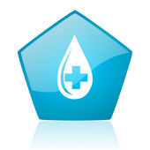 Blood blue pentagon web glossy icon — Stock Photo