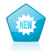 New blue pentagon web glossy icon — Stock Photo