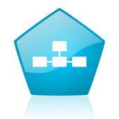 Database blue pentagon web glossy icon — Stock Photo