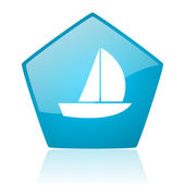 Yacht blue pentagon web glossy icon — Stock Photo