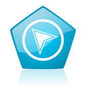 Navigation blue pentagon web glossy icon — Stock Photo