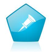 Pin blauwe pentagon web glanzende pictogram — Stockfoto