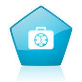 救援套件蓝色五角大楼 web 光泽图标 — 图库照片