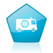 Ambulance blue pentagon web glossy icon — Stock Photo