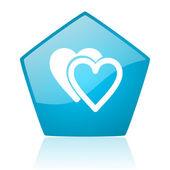 Love blue pentagon web glossy icon — Stock Photo