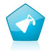 化学蓝五角大楼 web 光泽图标 — 图库照片