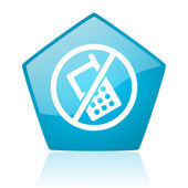 No phones blue pentagon web glossy icon — Stock Photo