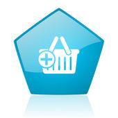 Shopping cart blue pentagon web glossy icon — Stock Photo