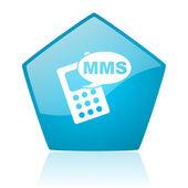 Mms blauwe pentagon web glanzende pictogram — Stockfoto