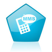 Mms blue pentagon web glossy icon — Stock Photo