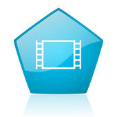 Movie blue pentagon web glossy icon — Stock Photo
