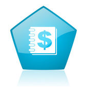 Money blue pentagon web glossy icon — Stock Photo