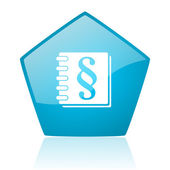 Law blue pentagon web glossy icon — Stock Photo