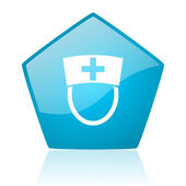 Nurse blue pentagon web glossy icon — Stock Photo