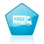Free delivery blue pentagon web glossy icon — Stock Photo