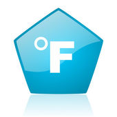 Fahrenheit blue pentagon web glossy icon — Stock Photo