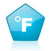 ícone brilhante de fahrenheit pentágono azul web — Fotografia Stock