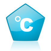 Celsius blue pentagon web glossy icon — Stock Photo
