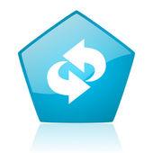 Rotate blue pentagon web glossy icon — Stock Photo