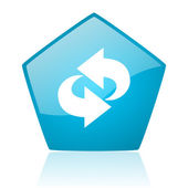 Rotate blue pentagon web glossy icon — Stock Photo
