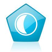 Moon blue pentagon web glossy icon — Stock Photo