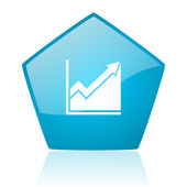 Histogram blue pentagon web glossy icon — Stock Photo