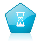 Time blue pentagon web glossy icon — Stock Photo