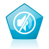 Mute blue pentagon web glossy icon — Stock Photo