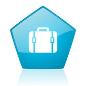Icona di bagaglio Pentagono blu web lucido — Foto Stock