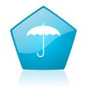 Umbrella blue pentagon web glossy icon — Stock Photo