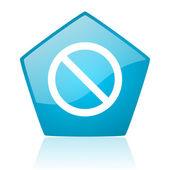 访问被拒绝蓝五角大楼 web 光泽图标 — 图库照片