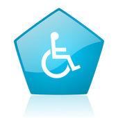 Accessibility blue pentagon web glossy icon — Stock Photo