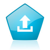 Upload blue pentagon web glossy icon — Stock Photo