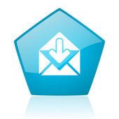 Mail blue pentagon web glossy icon — Stock Photo