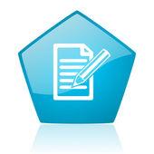 Subscreva o ícone brilhante do pentágono azul web — Foto Stock
