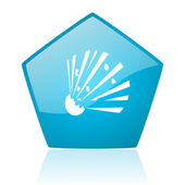 Bomb blue pentagon web glossy icon — Stock Photo