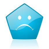 Chorar o ícone brilhante do pentágono azul web — Foto Stock
