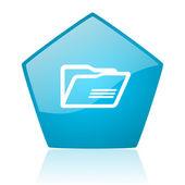 ícone brilhante da pasta pentágono azul web — Foto Stock