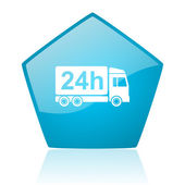 Levering 24h blauwe pentagon web glanzende pictogram — Stockfoto